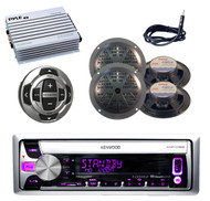 KMRD358 Marine CD/MP3 Pandora Radio Antenna,4 Blk Speakers,400W Amp+Wired Remote