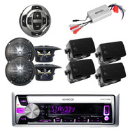 KMR-D358 Boat CD/MP3 USB iPod Radio w/Wired Remote, 8 Black speakers + 800W Amp