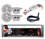 New KMR-D558BT Boat CD/MP3 USB iPod Pandora Radio+ 800W Amp,Antenna + 4 Speakers
