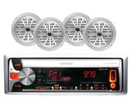 "New Kenwood Car/ Marine Pandora CD/USB Receiver with 4 4"" 100W Silver Speakers"