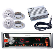 Boat Car KMR-D558BT CD USB MP3 Bluetooth Radio,400W Amp,4 White Speakers,Antenna
