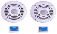 "New Pair of Cadence SQS-65W 6.5"" Inch Marine Boat Waterproof Round Speakers with 240 Watts - White Color + Built in Mylar Capacitor Crossovers to Filter Out Unwanted Frequencies"