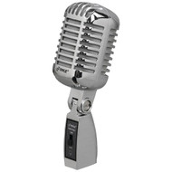 Classic Retro Die Cast Metal Vintage Style Dynamic Vocal Microphone with 16ft XLR Cable (Silver)