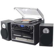 New PTTCSM70BT Classic Bluetooth Turntable Cassette Stereo w/USB to SD Recording