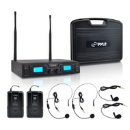 Premier Series Rack Mount UHF Wireless Microphone System with (2) Body-Pack Transmitters, (2) Headset & (2) Lavalier Mics Selectable Frequency, LCD Display