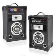 New PSUFM625 PAIR of 600W 2-Way PA Speakers USB/AUX Input & DJ Flashing Lights