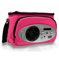 Pyle PSCL28RD Cooler Bag with Built in AM/FM Radio, Headphone Output and AUX IN for MP3 Players (Pink)