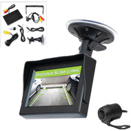 Pyle PLCM44 Back-Up Rearview License Plate Camera System Kit with 4.3-Inch Color Monitor and Distance Scale Lines