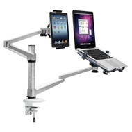 "Pyle PLPPADMT20 Dual Holder Stand Swivel Tilt Laptop 10-15.6"" Tablet 7-10.1"""