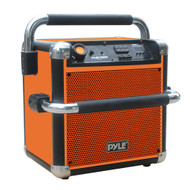 Pyle PWPBT405OR FlexBox Rugged and Portable Bluetooth BoomBox Speaker System, USB/SD Readers, AM/FM Radio, Built-in Rechargeable Battery(Orange)