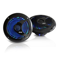 New Pyle PLMR6LEB 6.5'' Waterproof Audio Marine Grade Dual Speakers with Built-in Programmable Multi-Color LED Lights, 150 Watt, Black (Pair)