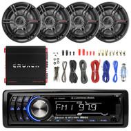 "Lightning Audio By Rockford Fosgate LA1500BT MP3 Bluetooth Stereo Receiver Player Bundle Combo With 4x Crunch CS653 6.5"" 3-Way Black Coaxial Speaker + 1000 Watt Amplifier + Enrock Amp Installation Kit"