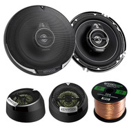 "2 Pairs Car Speaker Package Of 2x Kenwood KFC1695PS 6-1/2"" 3-way 320 Watt Car Coaxial Speakers Bundle With Kenwood KFC-ST01 1"" Inch 160-Watt Dome Tweeters + Enrock 16g 50 Feet Speaker Wire"
