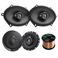 """2 Pairs Car Speaker Package Of 2x Kenwood KFC-C5795PS 5x7"""" 360W 3-Way Custom Fit Coaxial Speakers + 2x KFC1695PS 6-1/2"""" 3-way 320 Watt Car Speakers + Enrock 16g 50 Feet Speaker Wire"""
