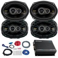 Car Speaker Set With Amplifier - 4 Kicker CS6934 6x9 Inch 900 Watt 4-Ohm 3-Way Car Audio Coaxial Speaker + Enrock EKMB500ABT 400W 4-Chan Bluetooth Car/Marine Amplifier + Boss KIT2 Amp Installation Kit