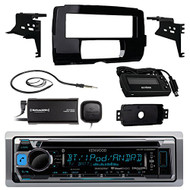 "Audio Bundle For 2014 and Up Harley - Kenwood KMR-D368BT Marine CD MP3 Bluetooth Stereo Receiver Combo With Installation Dash Kit for Motorcycles, SiriusXM Radio Tuner, Enrock 22"" Wired AM/FM Antenna"