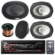 "Pioneer DEH-150MP Single DIN Car Stereo Bundle With 2 Sets Of Alpine SXE-6925S 6x9"" 280 Watts Coaxial Car Speaker And Enrock Speaker Wire 50 Feet 16 Gauge"