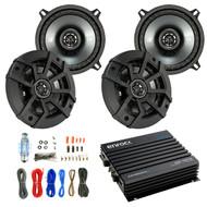 "Car Speaker And Amp Combo: 4x Kicker 43CSC5 450-Watt 5-1/4"" Inch CS Series 2-Way Black Car Coaxial Speakers - Bundle With 400-Watts 4-Channel Bluetooth Amplifier + 8-Gauge Amp Install Wiring Kit"
