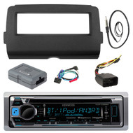 "Audio Bundle For 2014 and Up Harley - Kenwood KMR-D368BT Marine CD MP3 iPod Bluetooth Stereo Receiver Bundle Combo With Dash Install Kit, Handle Bar Controller for Motorcycle, Enrock 22"" Radio Antenna"