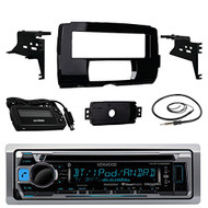 """Audio Bundle For 2014 and Up Harley - Kenwood KMR-D368BT Marine CD MP3 Bluetooth Stereo Receiver Combo With Installation Dash Kit for Single DIN Radios for Motorcycles, Enrock 22"""" Wired AM/FM Antenna"""
