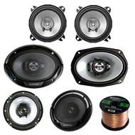 """3 Pair Car Speaker Package Of 2x Kenwood KFC-C1055S 210-Watt 4"""" Inch Coaxial Speakers + 2x KFC1665S 6.5"""" 2-Way Audio Speaker + 2x 6965S 6x9"""" 400W 3-Way Speaker + Enrock 16g 50 Ft Speaker Wire"""