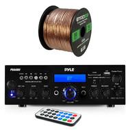 Pyle PDA6BU Amplifier Receiver Stereo, Bluetooth, AM/FM Radio, USB Flash Reader, Aux input (3.5mm) LCD Display, 200 Watt - Bundle With Enrock 50ft 16g Speaker Wire
