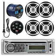 """Dual MD200 Marine Boat USB/AUX/CD Player Stereo Receiver Bundle Combo With Waterproof Wired Bluetooth Adapter + 4x Enrock Black/Chrome 6.5"""" Stereo Speakers + 45"""" Radio Antenna + 50Ft 16g Speaker Wire"""