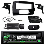 "Audio Bundle For 2014 and Up Harley - JVC KDR97MBS CD MP3 Marine Bluetooth Audio Receiver Combo With Installation Dash Kit for Motorcycles, SiriusXM Radio Tuner, Enrock 22"" Wired AM/FM Antenna"