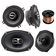 """Car Speaker Package Of Alpine SPS-510 5.25"""" 2-Way Car Audio Speakers Bundle With Alpine SPS-619 6x9"""" Inch 3-Way 520 Watts 4-Ohms Coaxial Car Stereo Speaker + Enrock 16g 50 Feet Speaker Wire"""