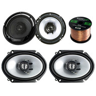 "2 Pair Car Speaker Package Of 2x Kenwood KFC-C6865S 6x8"" 250 Watt 2-Way Sport Series Black Coaxial Speakers + 2x KFC-1665S 6 1/2"" Inch 2-Way Audio Speaker + Enrock 16g 50 Ft Speaker Wire"