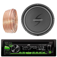 JVC KDR680S Car CD Player Receiver USB AUX Radio - Bundle Combo With 12-Inch Dual 4-Ohm Single Voice Coil Subwoofer + Enrock 50 Foot 18 Gauge Wire