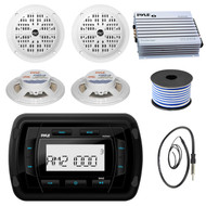 Pyle PATVR10 MP3 Bluetooth Marine Boat Yacht Stereo Receiver Bundle Combo With 4x White 5-1/4'' Inch Dual Cone Waterproof Stereo Speaker + Enrock Radio Antenna + 400 Watt Amplifier +18G 50-FT Wire