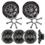 "2  Kicker 10CVX104 10"" Subwoofers,  2 Kicker GR100 10"" Speaker Grilles, 2 Kicker 40CS674 6-3/4""  600 Watt Black Car Coaxial Speakers - Pair"