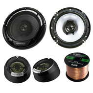 "2 Pair Car Speaker Package Of 2x Kenwood KFC-1665S 6 1/2"" Inch 2-Way Audio Coaxial Speaker + 2x KFC-ST01 1"" Inch 160-Watt Black Dome Tweeters Bundle With Enrock 16g 50 Ft Speaker Wire"