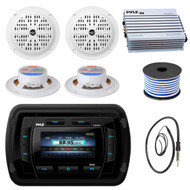 Pyle PATVR14 MP3/MP5 Bluetooth Marine Boat Yacht Stereo Receiver Bundle Combo With 4x 4'' Inch Dual Cone Waterproof White Stereo Speaker + Enrock Radio Antenna + 400 Watt Amplifier +18G 50-FT Wire