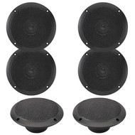 "3 Pairs Of Magnadyne WR45B 5"" Inch Waterproof Marine, Boat, Hot Tub, Outdoor Speaker with Integrated Plastic Grill - Black"