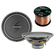 Car Subwoofer Package Of 1 Pair of Lightning Audio By Rockford Fosgate L0-S412 LA-Zero 12-Inch 4 OHM Car Audio Single Voice Coil Sub-woofer Bundle Combo With Enrock 50 Foot 16 Guage Speaker Wire