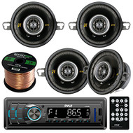 "Pyle PLR34M In Dash AM FM Car Stereo Receiver, Bundle Kit With 2 Sets Of Kicker 40CS354 90w 3.5"" 4 Ohm Audio Coaxial Speaker + Enrock 50ft 16g Car Audio Speaker Wire"