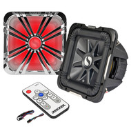 """Kicker 11S10L72 10"""" Inch 2-Ohms Solo-Baric L7 Car Subwoofer, Kicker 11L710GLCR 10"""" Chrome Grille With LED Lighting For SoloBaric Subwoofer, Kicker 41KMLC Marine LED Light Remote Controller"""