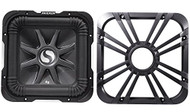 """Package: Kicker 11S10L72 10"""" 1200 Watt 2 Ohm Solo Baric L7 Subwoofer + Kicker 11L710GLC 10"""" Charcoal Grille With LED Lighting"""