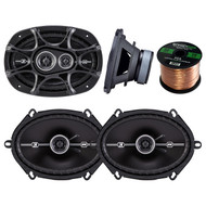 "Kicker 41DSC693 D-Series 6x9"" inch Coaxial 3-Way Speaker with 1/2"" Tweeter, Kicker 41DSC684 D-Series 6x8"" 400 Watt 2-Way 4-Ohm Car Audio Coaxial Speakers, Enrock Audio 16-Gauge 50 Foot Speaker Wire"
