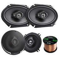 "2 Pair Car Speaker Package Of 2x Kenwood KFC-C6895PS 720-Watt 6x8"" Inch 3-Way Black Custom Fit Black Car Coaxial Speakers + 2x KFC-1395PS 5 1/4 320-Watt Audio Speaker + Enrock 16g 50 Foot Speaker Wire"