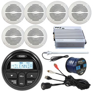 "Marine Audio Package Kit of Milenna PRV17 Marine Gauge Style AM/FM Radio Stereo Receiver Bundle Combo With 3 Pairs (total of 6) Magnadyne 6.5"" Speaker + 400 Watt Bluetooth Amplifier + Enrock USB/AUX To RCA Cable + 45"" Radio Antenna + 50 Ft Wire"