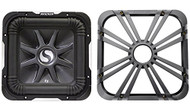 """Package: Kicker 11S12L7-2 12"""" 1500 Watt Dual 2 Ohm Solo Baric L7 Subwoofer w/ Non Resonant Aluminum Basket + Kicker 11L712GLCR 12"""" Chrome Grille With LED Lighting For SoloBaric 11S12L7 Subwoofer"""