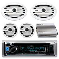 "Kenwood KMRD368BT MP3/USB/AUX Marine Boat CD Player Receiver Bundle Combo With 2x MB-Quart NKF116 6.5"" Inch 200W Coaxial Speakers + 2x NKF692 6x9"" 260W White Speakers + 400-Watt 4-Channel Amplifier"