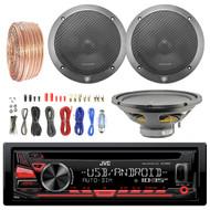 "JVC KDR480 Car Radio USB AUX CD Player Receiver - Bundle Combo With 2x L65S 6.5"" Black Car Component Speaker + 1x 12"" Single Voice Coil Subwoofer + Enrock 8-Gauge Wiring Kit"
