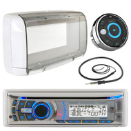 """Dual Electronics AMB600W Marine Boat Bluetooth CD/MP3 Stereo Receiver Bundle Combo With MWR15 Waterproof Wired Remote Control + SG3 Universal White Radio Splash guard Case + Enrock 22"""" Radio Antenna"""