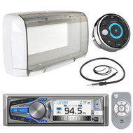 "Dual Electronics AM615BT 3"" LCD Marine Boat Bluetooth CD Stereo Receiver Bundle Combo W/ MWR15 Waterproof Wired Remote Control + SG3 Universal White Radio Splash guard Case + Enrock 22"" Radio Antenna"