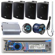"Dual AMB600W Marine Bluetooth CD/MP3 Stereo Receiver Bundle Combo W/ Waterproof Wired Remote Control + 4x LU43PB Stereo Box Speakers + 400 Watt Amplifier + 45"" Radio Antenna + 50 Ft 16g Speaker Wire"