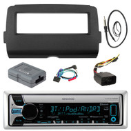 """Audio Bundle For 2014 and Up Harley -Kenwood KMR-D765BT Marine CD MP3 USB AUX Bluetooth Stereo Receiver Combo With Install Dash Kit and Handle Bar Controller for Motorcycle, Enrock 22"""" Radio Antenna"""